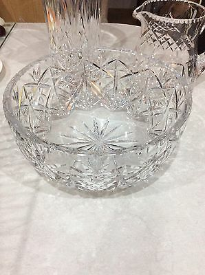 Superb Crystal Cut Glass Bowl , Clear Glass ,very Heavy