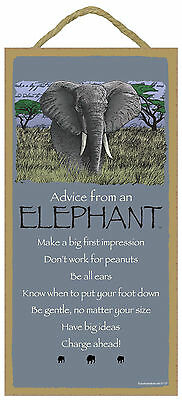 Advice from an Elephant Inspirational Wood Wild Animal Sign Plaque Made in USA