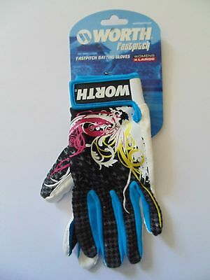 NEW Worth Fastpitch Batting Gloves, Adult Women's Size Large (E4)