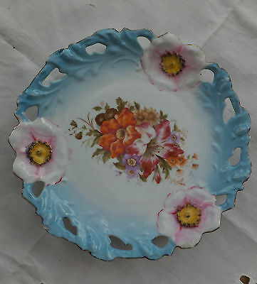 Antique La Seinie Gold LS Vendrenne Pierced Porcelain Flower Plate Marc Lozelot