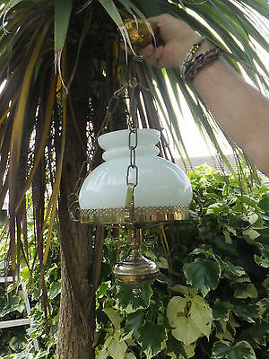 Victorian Style Hanging Oil Lamp Electrified White Glass shade Vintage Country
