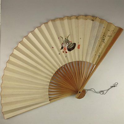 YU159 SENSU Japanese Fan Samurai helmet painting Nihonga Picture Traditional
