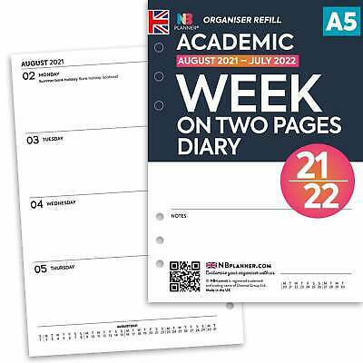 Academic 2017-2018 Week on one page diary FILOFAX A5 PERSONAL Compatible Refill
