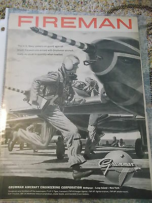 Newsweek 1950s full page AD for Grumman Aircraft  - US Navy Carrier Firemen