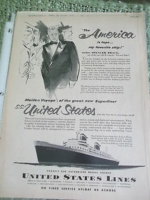 Newsweek 1952 B&W full page United States Lines AD fea portrait of Spencer Tracy