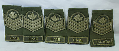 "Set of 5 Canadian Army Armed Forces Rank Badge Slip Ons - Sgt. ""Eme"" Collection"