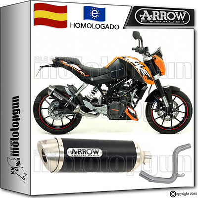 Arrow Kit Tubo De Escape Thunder Aluminio Dark Hom Ktm Duke 125 2015 15 2016 16