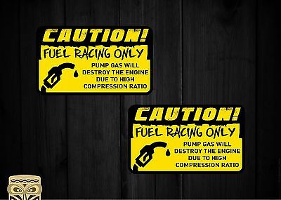 Pegatina Decal Sticker Autocollant Aufkleber Caution Fuel Racing Only Cool