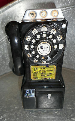 Vintage Western Stamping Corp Rotary Wall Telephone Bank Ceramic Taiwan W/Box