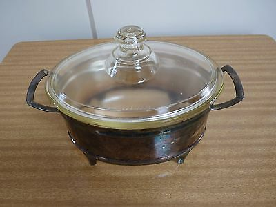 Vintage Glass Pyrex Casserole Dish with Silver Plated Serving Stand
