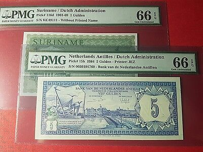 Duet Dutch Administration Nederland Antilles Suriname PMG 66 1 5 Gulden EPQ GEM