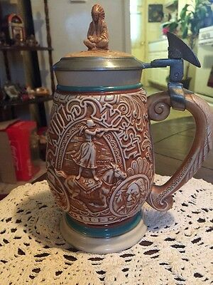 """1993 Avon """"Tribute to the Wild West"""" 9"""" Lidded Beer Stein; Numbered; Made Brazil"""