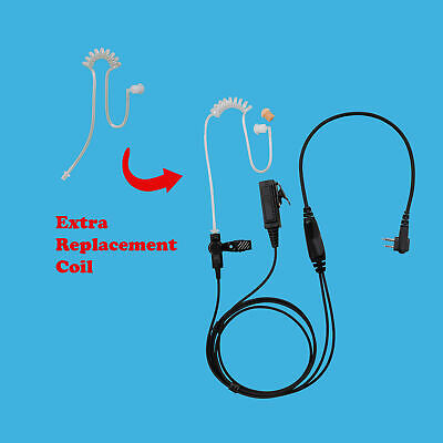 Replace Air Tube + Security 2-Wire Radio Earpiece for Motorola CP150 CP200