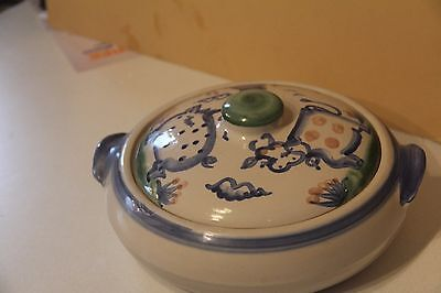 Mary Hadley Pottery Jar Lid Container Jug Stoneware Signed Casserole Bowl Cow