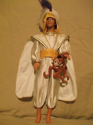 Disney Mattel Aladdin doll with monkey satiny white suit & hat - missing lamp