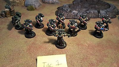 Warhammer 40k Space Marines Dark Angels Tactical Squad Marines X10, painted (T1)