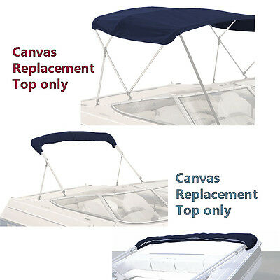 """Bimini Top Boat Cover Canvas Fabric Navy W/boot Fits 3 Bow 72""""l 54""""h 91""""- 96""""w"""