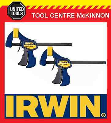 "2 x IRWIN QUICK-GRIP 12"" / 300mm LIGHT DUTY 63kg FORCE ONE HANDED MINI BAR CLAMP"
