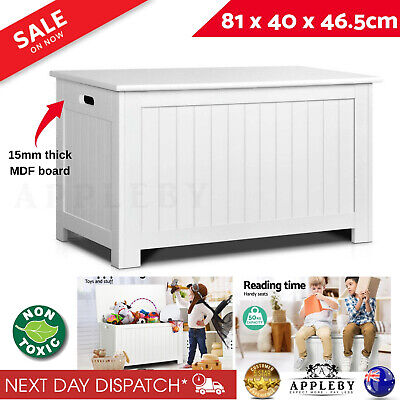 New Wooden Toy Box Kids Storage Chest White Cabinet Clothes Blanket Containers