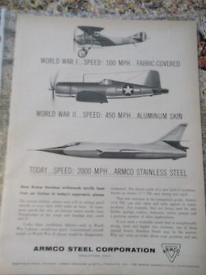 Newsweek 1950s AD for Armco Steel corporation re: supersonic planes
