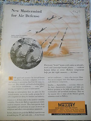 Newsweek 1950s AD for P.R. Mallory & Co. New Mastermind for Air Defense.