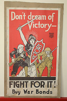 WWI Original Don't Dream of Victory United Cigar Store Liberty Bond Poster WW1