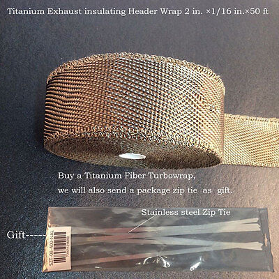 "Thermal Header Pipe Tape Titanium Lava Exhaust Wrap 1/16 in.×2""x 50ft Ties Kit"