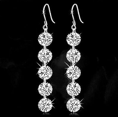 925 Sterling Silver Made With Swarovski Crystal Bridal Long Dangle Earring IE99
