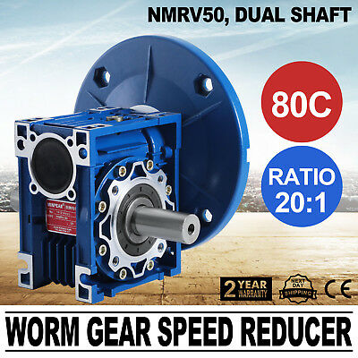 NMRV050 Worm Gear 20:1 80C Speed Reducer Gaerbox Dual Output Shaft New 1.14HP