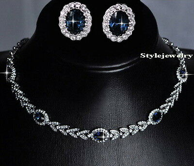 18k White Gold Filled Sapphire Crystal Wheat Necklace Earring Bridal Set XS7
