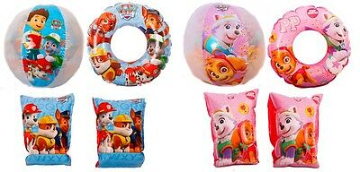 PAW PATROL Inflatable Swim Ring Armbands Beach Ball Set Holiday Summer Pool Play