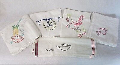 Lot of 5 Vintage Large Hand Embroidered Hand Tea Towel Girl Cardinal