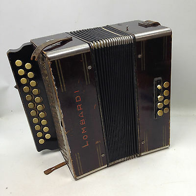 Antique LOMBARDI Squeeze Button Box Accordion Plays Well