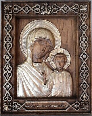 Russian Orthodox icon wood carved 3D Our Lady of Kazan  Богородица Казанская