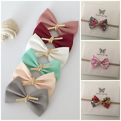 Newborn Baby Toddler Girls Small Bow Fabric Headband Nylon Hair Accessories