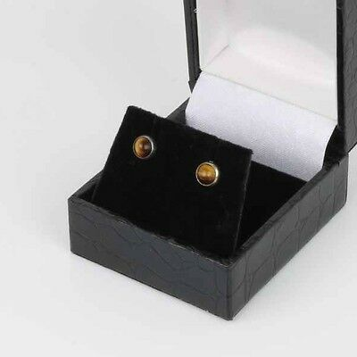 Danish sterling silver ear studs made by N.E.From and set with Tiger Eye