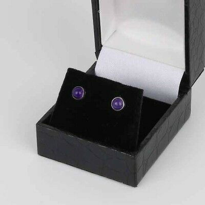 Danish sterling silver ear studs made by N.E.From and set with Amethyst