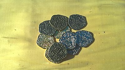 PIRATE TREASURE COINS REPLICA MIXED METAL NEW LOOT 2cm REPRODUCTIONS COIN X 10