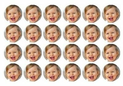 24 x Personalised Image / Photo cake toppers / cupcake edible decorations 4cm