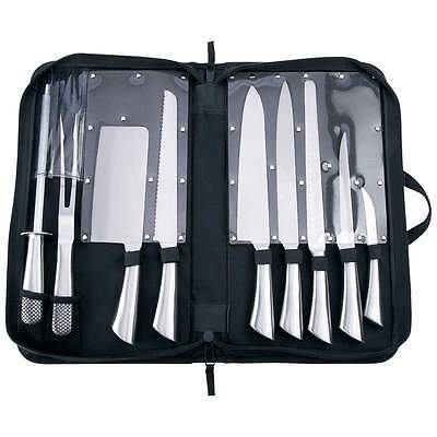 10 Slitzer Stainless Professional Kitchen Knife Cutlery Cooking Knives Chef Case