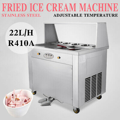 Double Pans Thai Fried Ice Cream Machine,Ice Cream Roll Maker with 5 Boxes Top