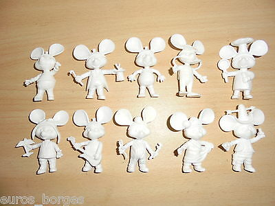 RARE 10 TOY FIGURES TOPO GIGIO PVC Portugal COMPLETE COLLECTION NOT PAINTED