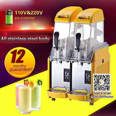 stainless steel frozen Drink Slush Making Machine with two Transparent tanks