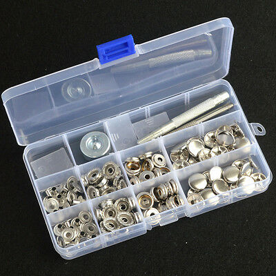 inBox Silver Snap Fasteners 15mm 30 Sets Press Stud Kit Button w/Punch Tool AU