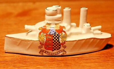WW1 Crested China Arcadian Warship with the Crest of STAMFORD