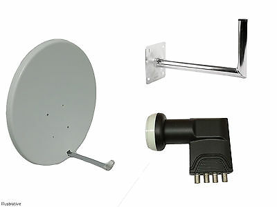 90cm Satellite Dish With Wall Mount & Quad LNB