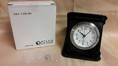 Atlas Editions NEW BUS Travel Alarm Clock in black FAUX LEATER zip case.