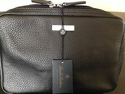 Brooks Brothers Black Leather Travel Case Toiletry Bag  - Rrp £79 Bnwt
