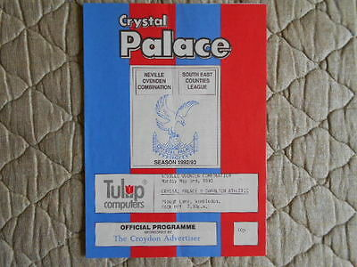 1992/93 Crystal Palace Res V Charlton Res Neville Ovenden Combination Programme