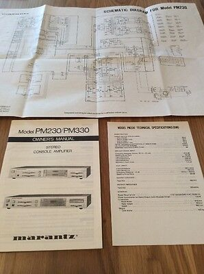 Marantz Owner's Manual Schematic Model PM230/PM330 Stereo Console Amplifier